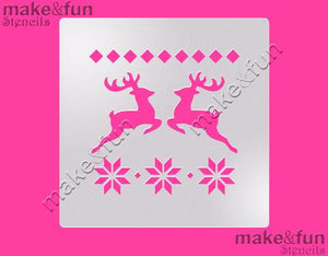 Christmas Reindeer and Snowflakes Stencil