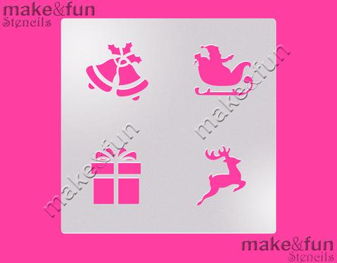 Christmas Jingle Bells, Santa Sleigh, Reindeer, Gift Oreo Cookie Stencil by Make and Fun