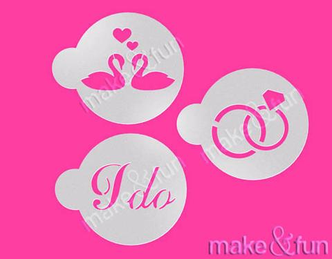 3 Piece Wedding I Do Diamond Rings Swans Cookie Stencil
