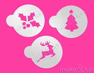 3 Piece Christmas Reindeer Christmas Tree and Holly Stencil by Make and Fun