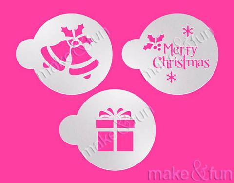 3 Piece Jingle Bells Merry Christmas Gift Cookie Stencil