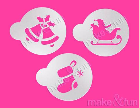 3 Piece Christmas Stocking Santa Sleigh Jingle Bells Cookie Stencil