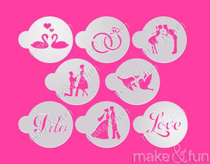 8 Piece Wedding Cookie Stencil, Face Painting Stencil, Craft Stencil by Make and Fun