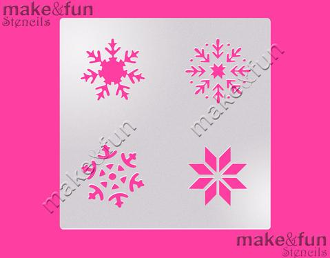 4 Piece Snowflakes Winter Holiday Cookie Stencil