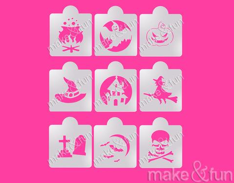 9 Piece Halloween Cookie Stencil, Face Painting Stencil, Craft Stencil by Make and Fun