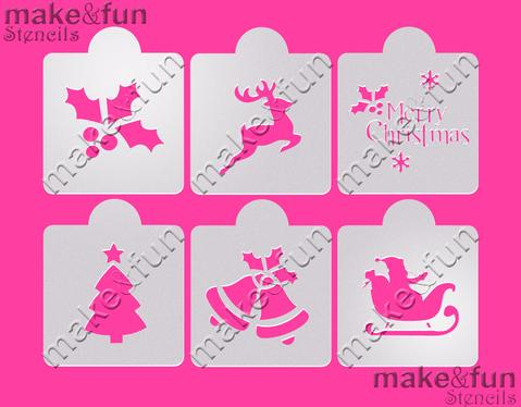 6 Piece Christmas Design Cookie Stencil