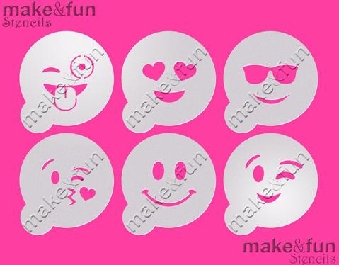 6 Piece Emoji Cookie Stencil, Face Painting Stencil, Craft Stencil by Make and Fun