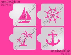4 Piece Nautical Cookie Stencil, Face Painting Stencil, Craft Stencil by Make and Fun