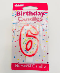 Number Six Red Birthday Candles