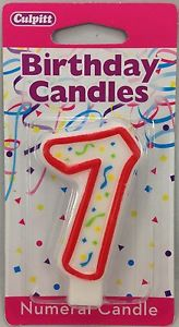 Number Seven Red Birthday Candles