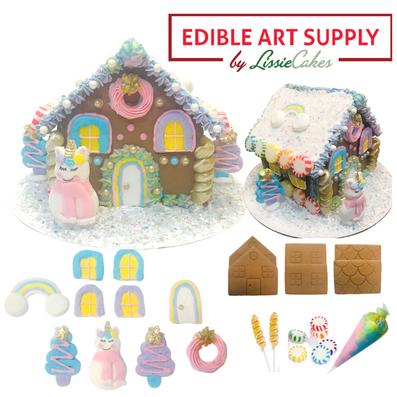 LissieCakes Rainbows and Unicorn Poop Gingerbread House Kit - Build Yourself - Pre-Order