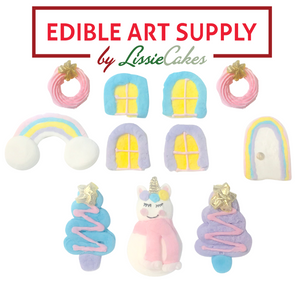 LisseCakes Rainbows and Unicorn Poop Gingerbread House Icing Decorations