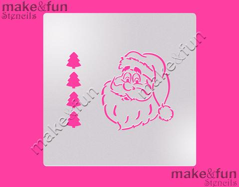 PYO Santa Christmas Cake Stencil, Cookie Stencil, Craft Stencil by Make and Fun