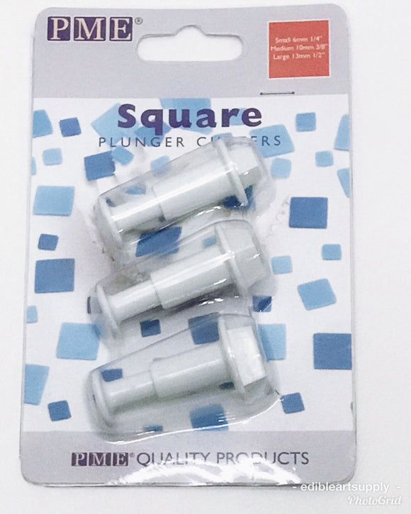 PME Plunger Cutter Set of 3 - Square/Small Square Edible Art Cutters