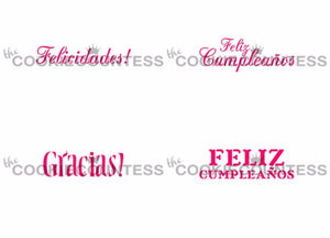 Spanish Greetings Cookie Stencils by Cookie Countess
