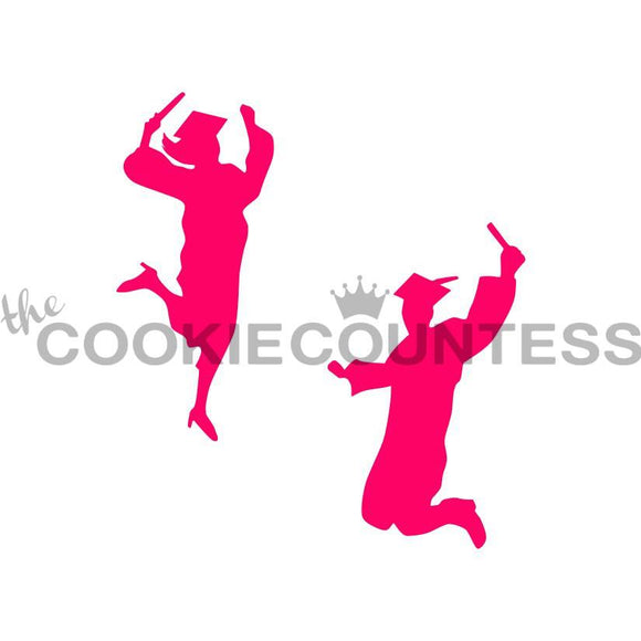 Graduates Celebrating Cookie Stencil/Happy Graduates Stencil by Cookie Countess