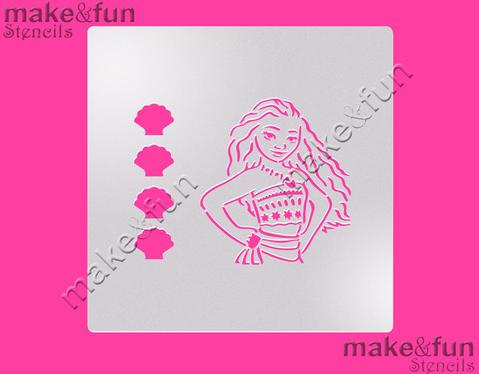 PYO Hawaiian Princess Cake Stencil, Cookie Stencil, Craft Stencil by Make and Fun