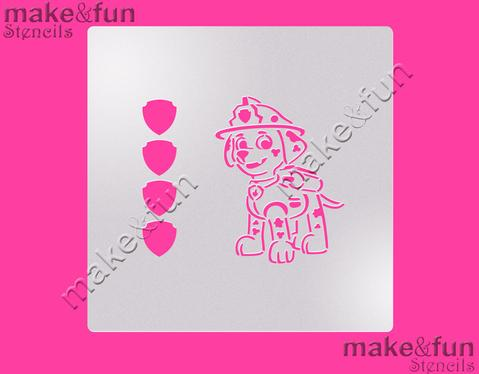 PYO Fireman Puppy Cake Stencil, Cookie Stencil, Craft Stencil by Make and Fun