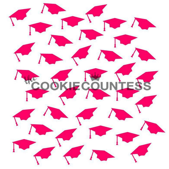 Graduation Caps Cookie Stencil/Cake Stencil by Cookie Countess