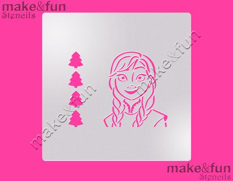 PYO Ice Princess Cake Stencil, Cookie Stencil, Craft Stencil by Make and Fun