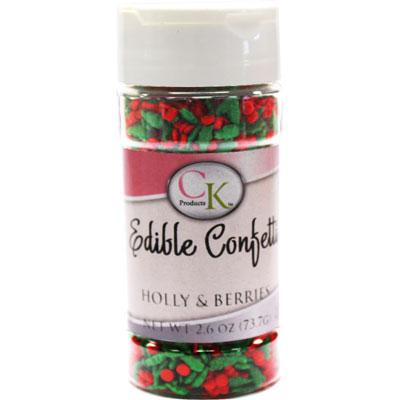 Edible Confetti Holly and Berries Christmas Sprinkles 2.6 oz