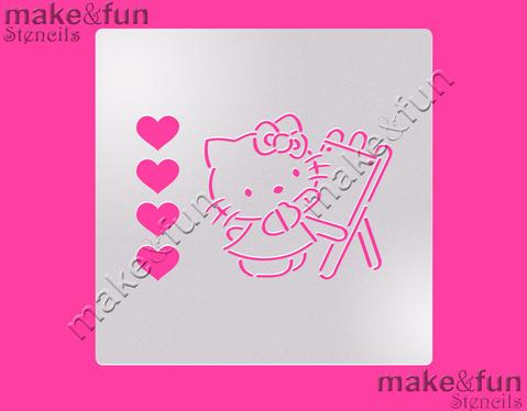PYO Cute Cartoon Cat with Bow Cake Stencil, Cookie Stencil, Craft Stencil by Make and Fun