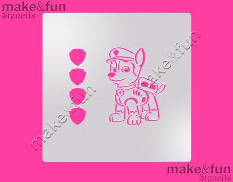 PYO Police Puppy Cake Stencil, Cookie Stencil, Craft Stencil by Make and Fun