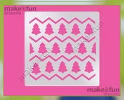 Christmas Trees Abstract Design Cake Stencil, Cookie Stencil, Craft Stencil by Make and Fun