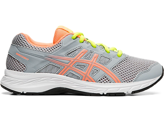 Asics Contend 5 GS Junior Running Shoe Grey/Coral