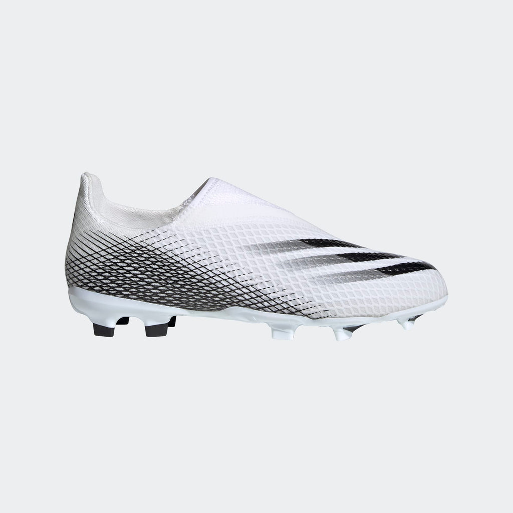 Adidas X Ghosted.3 Laceless FG Junior Football Boots White/Black