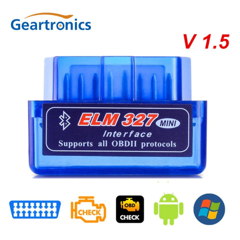 New OBD V2.1 V1.5 mini ELM327 OBD2 Bluetooth Auto Scanner OBDII 2 Car ELM 327 Tester Diagnostic Tool for Android Windows