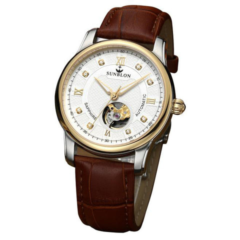 Water Resistant Men's Automatic Mechanical Watch With Leather Band