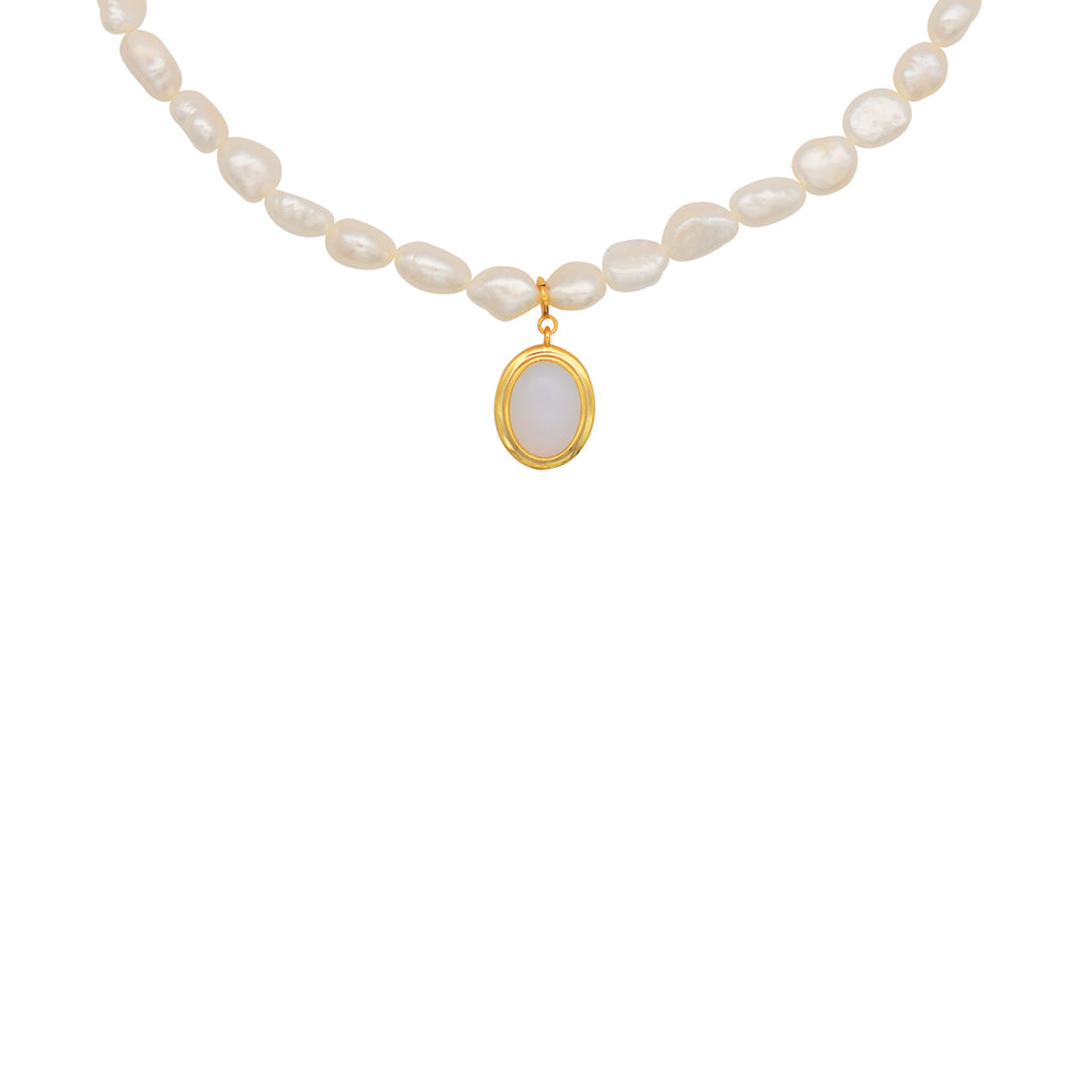 18k Gold Opal & Pearl Necklace, semi precious jewellery, semi precious necklace, pearl necklace, pearl chain, womens jewellery UK