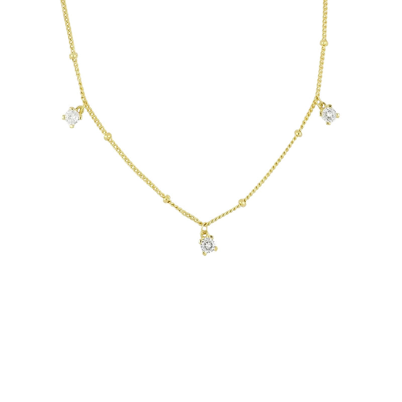 Dainty Gold Crystal Drop Necklace, layering necklaces, gold chains, womens gold necklaces, crystal charm necklace, uk jewellery brand