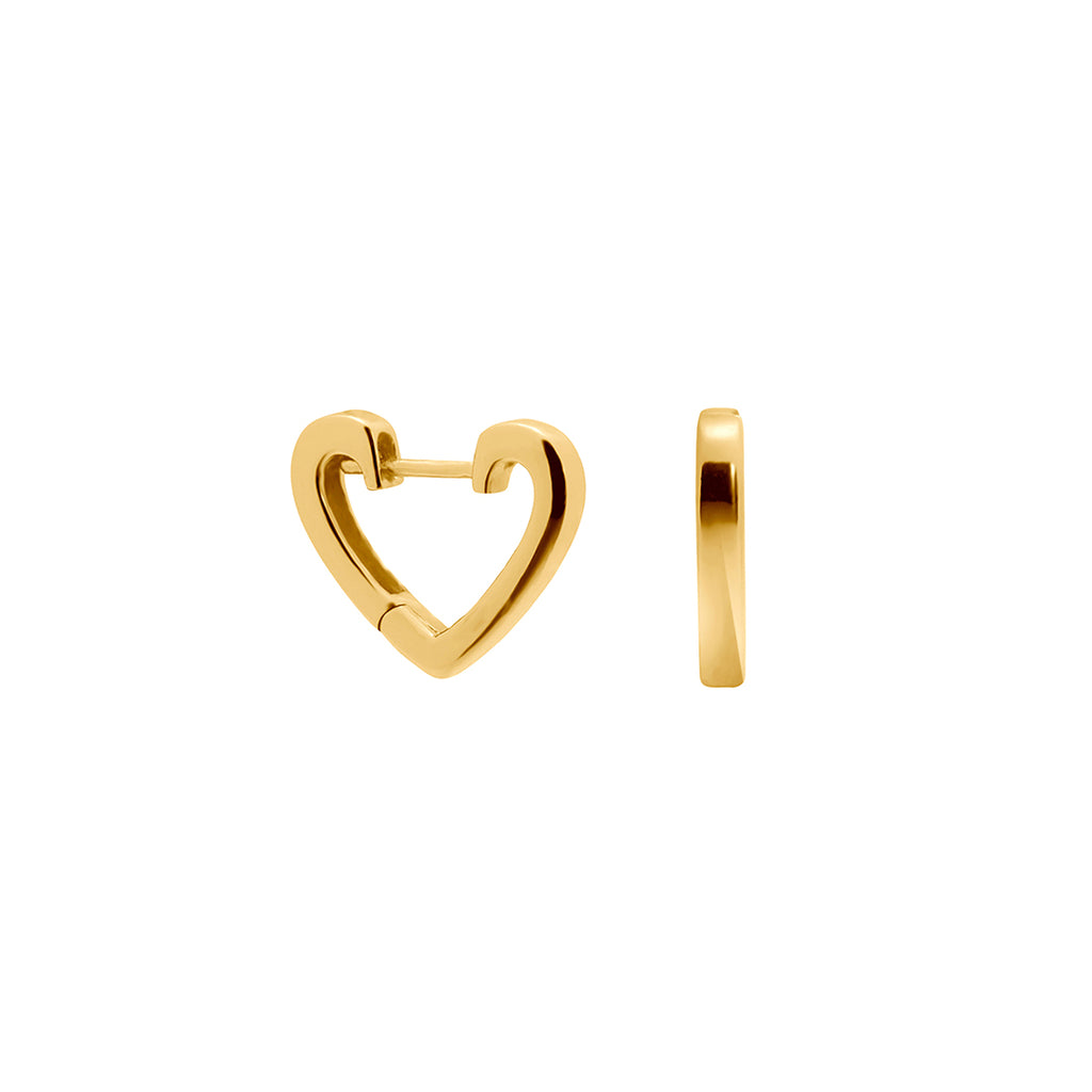 Gold Heart Hoops, gold hoops, stacking hoops, ear stack, uk jewellery brand, heart hoops