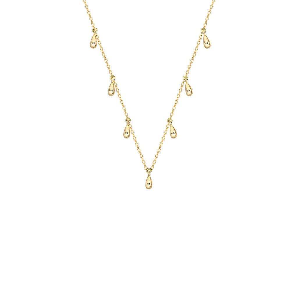 Gold Tear Drop Necklace, layering necklaces, dainty chain, dainty gold necklaces, tear drop necklace, gold tear drop necklace, tear drop charm necklace, gifts for her, womens jewellery uk, demi fine jewellery, gold vermeil jewellery, womens gift ideas, gifts for her