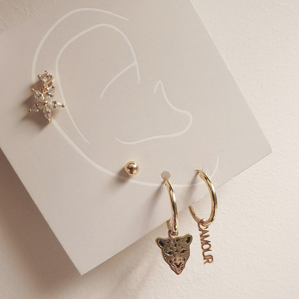 gold amour huggies, gold charm hoops, gold charm huggies, ear stack, 18ct gold earrings, 18k gold huggies, uk jewellery