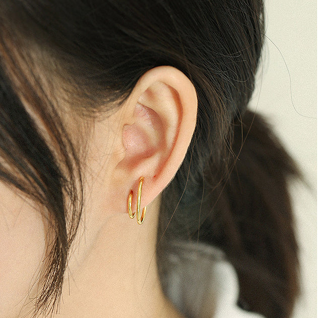 Double Hoop Gold Earrings, gold hoops, ear stacks, gold vermeil earrings, gold vermeil jewellery, uk jewellery brand