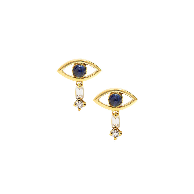 Evil eye Drop Earrings, ear stacks, earring stacks, huggie earrings, womens earrings, uk jewellery brand, jewellery uk, evil eye studs, evil eye earrings, earrings women