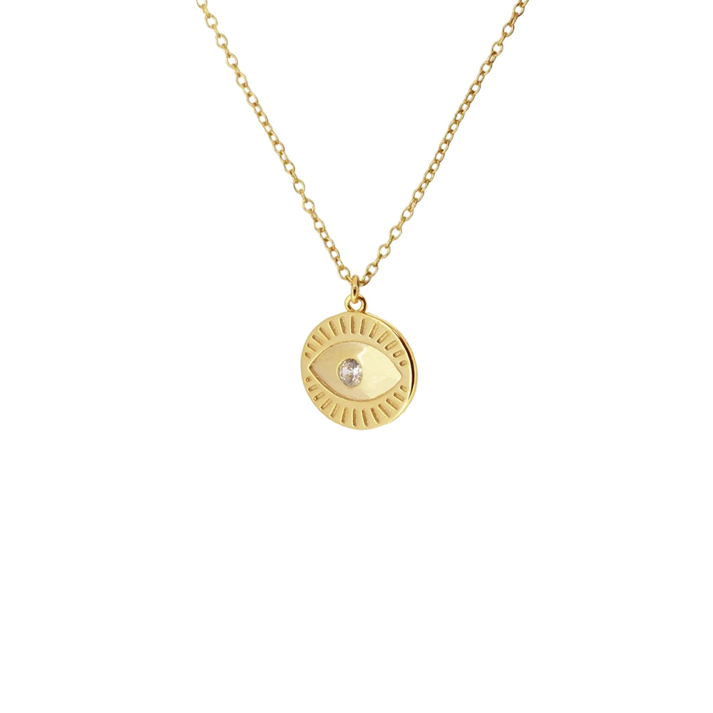 Gold Evil Eye Necklace, layering necklace, dainty necklace, thin necklace chain, uk jewellery, 18k gold plated evil eye necklace, gifts for her, christmas gifts for her,