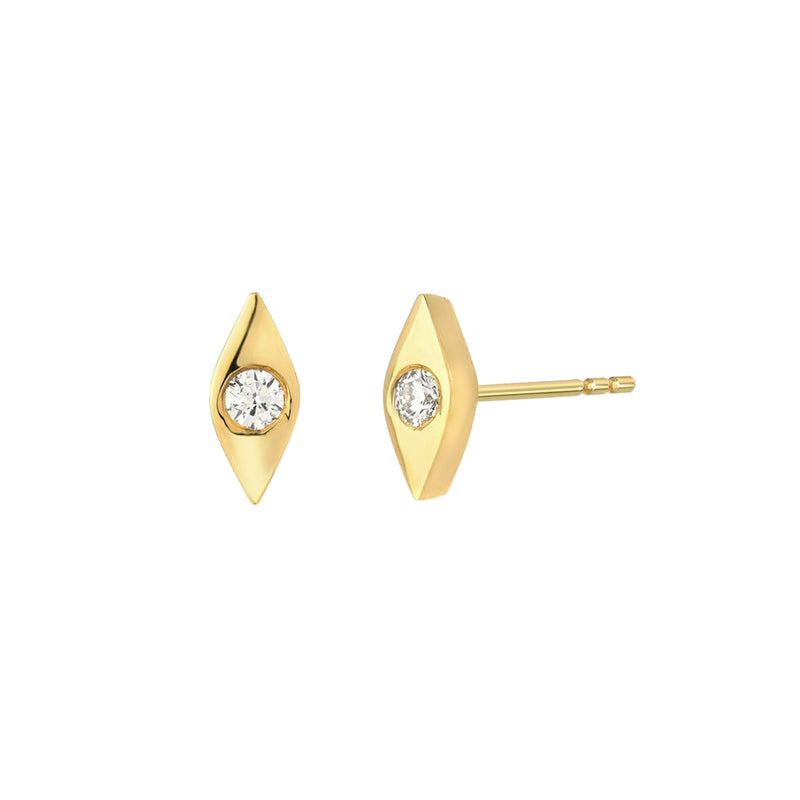 gold evil eye stud earrings, ear stacks, dainty earrings,  demi fine jewellery, uk jewellery