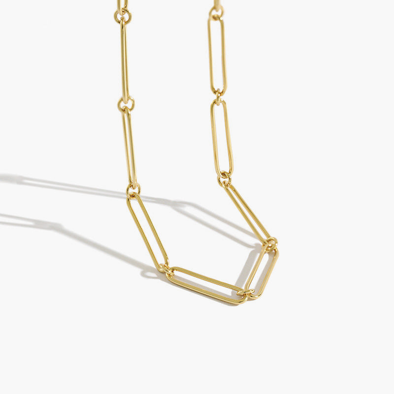Gold Rectangle Link Chain, layering chain, layering necklace, link necklace, womens necklaces, uk jewellery brand, demi fine jewellery, gold vermeil necklace, gold vermeil chain, paper clip necklace, paper clip chain