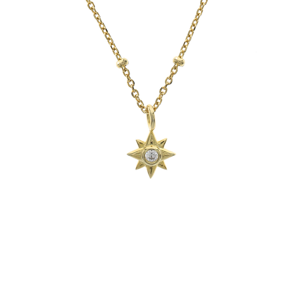 Gold Star Burst Necklace, gold pendant chain, layering gold necklaces, uk jewellery brand, , demi fine jewellery, dainty gold necklace