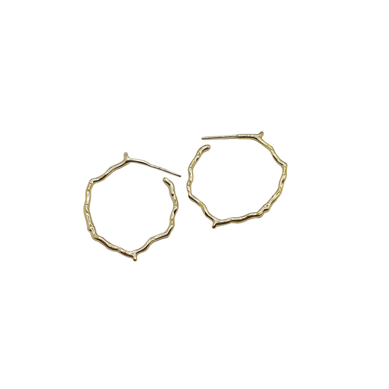 Tree Branch Gold Hoops, gold hoops, gold earrings, ear stacks, earrings, womens earrings, gold vermeil earrings, gold vermeil hoops