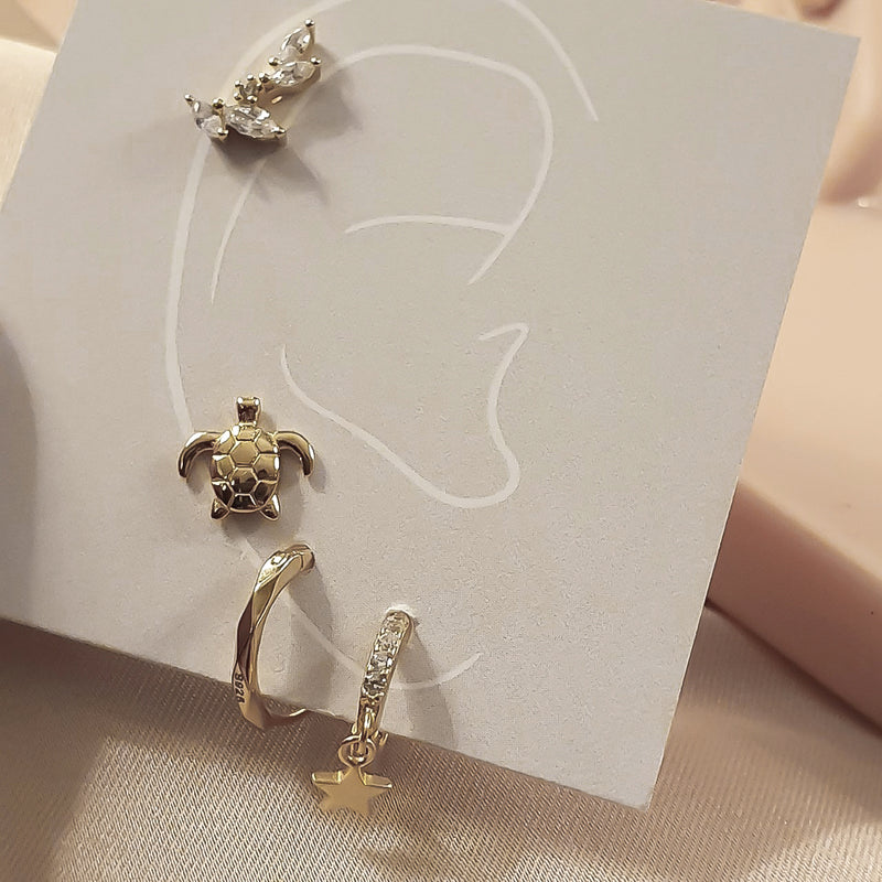 Gold Diamond Huggies, gold hoops, small gold hoops, gold vermeil earrings, womens earrings, womens hoops, gold hoops