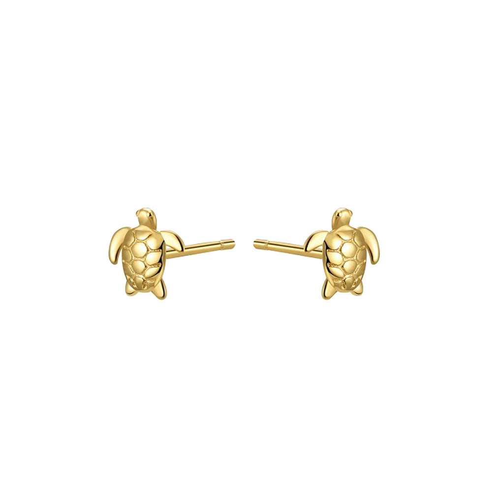 Gold Turtle Studs, animal studs, gold ear stacks, earring stacking, uk jewellery brand, demi fine jewellery
