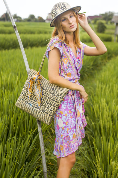 BORNEO HANDWOVEN BAG - ORCHID