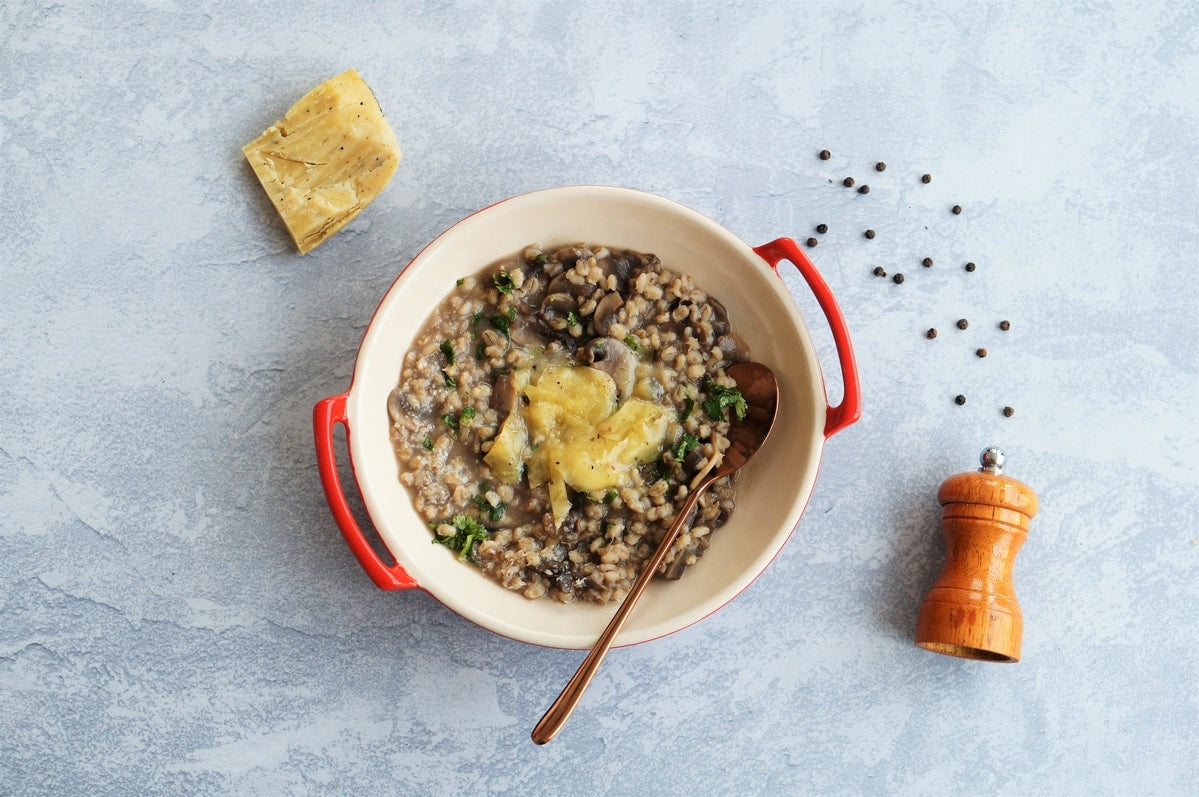 Postpartum Meal Recipe Series: Barley Mushroom Risotto