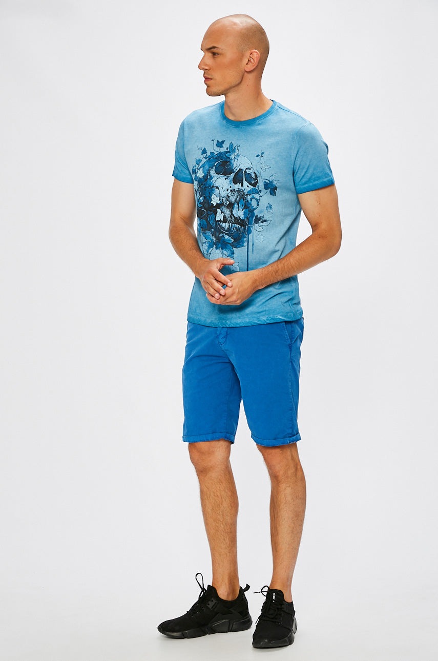 Skull Leaves T-Shirt (blue)