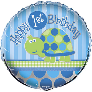 1st Birthday Turtle Helium Foil Balloon - 18""